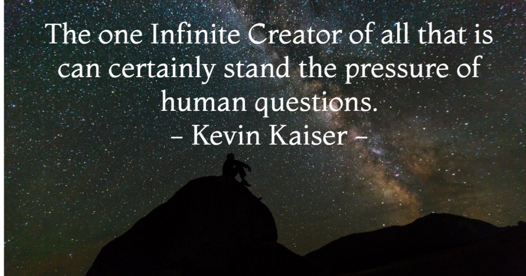 The one Infinite Creator of all that is can certainly stand the pressure of a human questions. - Kevin Kaiser